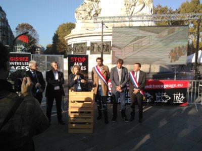 Discours lors du lancement de l'ICE à Paris Place de la République