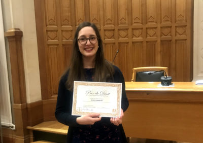 Alice Di Concetto reçoit le Prix de droit 2018