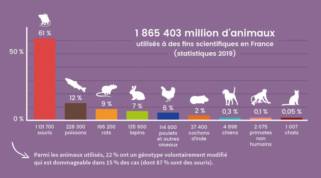 Graphique par espèce des animaux utilisés à des fins scientifiques en France